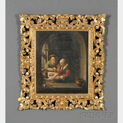After Frans van Mieris the Elder (Dutch, 1635-1681)      Elderly Couple at the Table