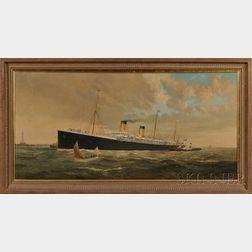 American School, 19th Century      Portrait of the White Star Line Ocean Liner Oceanic.