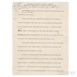 Kennedy, John Fitzgerald (1917-1963) Harvard Commencement Address with Handwritten Notes, 14 June 1956.