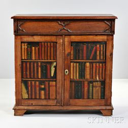 Continental Gothic-Revival Painted Fruitwood Cabinet