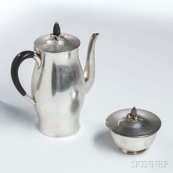 Sterling Silver Coffeepot and Sugar Bowl