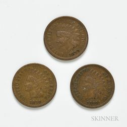 Three 1870 Indian Head Cents