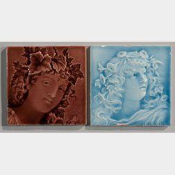 Two Trent Tile Company Art Pottery Tiles