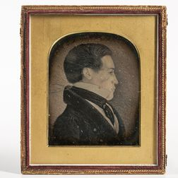 Half-plate Daguerreotype of a Folk Portrait Profile Drawing of a Young Man