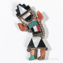 Zuni Inlaid Silver Rainbow Dancer Pin