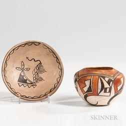 Southwest Polychrome Pottery Tray and Hopi Pot