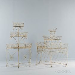 Two White-painted Wirework Plant Stands