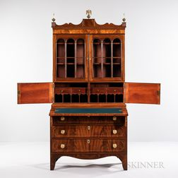 Federal Carved Mahogany and Mahogany Veneer Glazed Desk/Bookcase