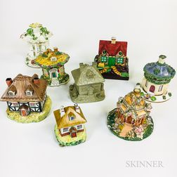Eight Staffordshire Pastille Burners