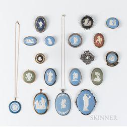 Eighteen Wedgwood Jewelry Items