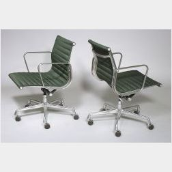 Eight Green Eames Aluminum Group Chairs