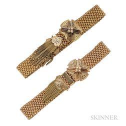 Antique Pair of Gold Slide Bracelets