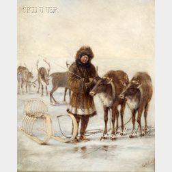 George Albert Frost (American, 1843-1907)      Figure with Sled