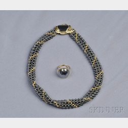 18kt Gold and Hematite Suite