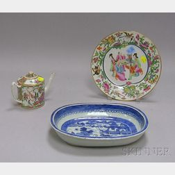 Chinese Export Porcelain Canton Serving Dish, Small Rose Mandarin Teapot, and Plate.