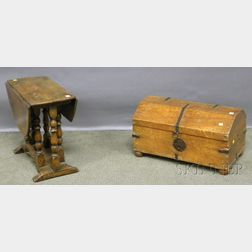 Small William & Mary-style Oak Drop-leaf Gate-leg Table and Provincial Iron-bound Pine Dovetail-constructed Dome-top Box with Bun Fe...