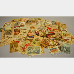 Approximately Eighty Late Victorian Chromolithograph Trade Cards and Printed Material