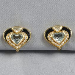 18kt Gold Gem-set Earclips, Marina B.