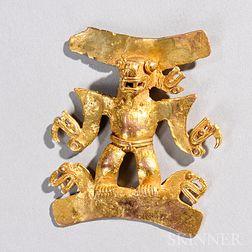Pre-Columbian Gold Shaman Pendant