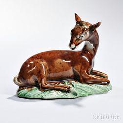 Staffordshire Translucent Glazed Earthenware Figure of a Deer