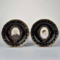 Two Meissen-style Portrait Plates