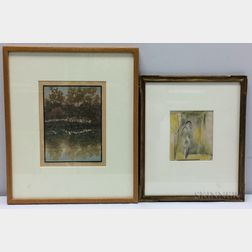 Two Framed Works on Paper:      Carl Sprinchorn (American, 1887-1971), Actor