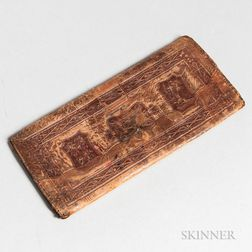 Embossed Leather Wallet with Hunting Scenes