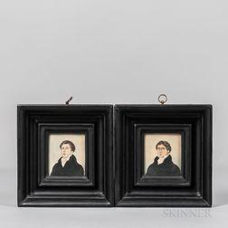 Two Watercolor Portrait Miniatures