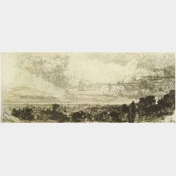 Sir Francis Seymour Haden (British, 1818-1910)  Lot of Two Prints:  Out of Study Window