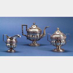 Three Piece American Federal Coin Silver Tea Set