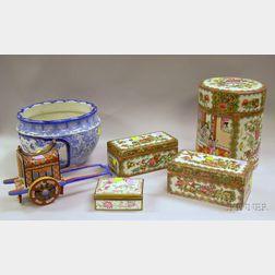 Six Asian Porcelain Table Items