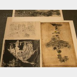Lot of Four Prints:      Johnny Friedlaender  (German, 1912-1992) , Composition