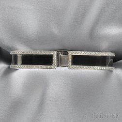 18kt White Gold, Enamel, and Diamond Bracelet, Cartier