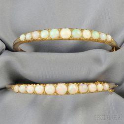 Two 14kt Gold, Opal, and Diamond Bracelets