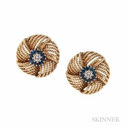 14kt Gold, Sapphire, and Diamond Earclips