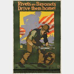 WWI J. E. Sheridan Rivets are Bayonets Drive Them Home!   Lithograph   Poster