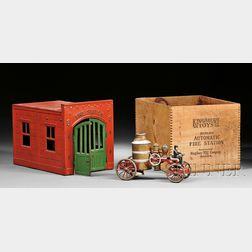 Kingsbury Toys Fire Station and Fire Pumper Truck in Original Wood Box