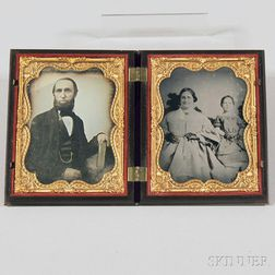 Quarter-plate Daguerreotype of a Man and an Ambrotype Portrait of His Wife and   Daughter