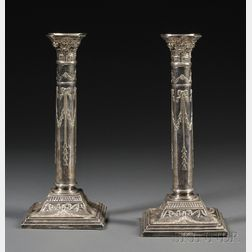 Pair of Continental Classical-style Weighted Silver Candlesticks