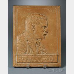 James Fraser (1876-1953) Bronze Profile Portrait Plaque of President Teddy   Roosevelt