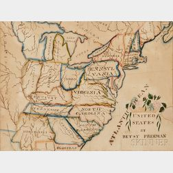 Watercolor, Pen, and Ink on Paper Schoolgirl Map of the Eastern United States