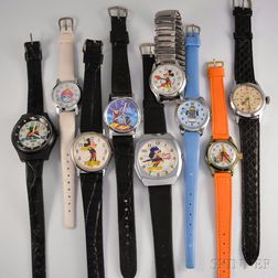 Three Mickey Mouse Wristwatches and Six Others