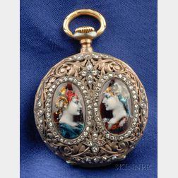 Renaissance Revival Enamel and Diamond Pocket Watch, Tiffany & Co.