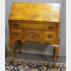Lady's Queen Anne Style Carved Tiger Maple Slant-lid Writing Desk