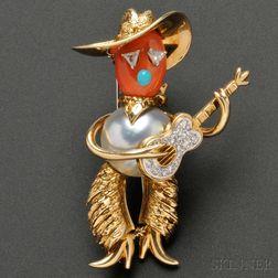 Whimsical Gold Gem-set Figural Brooch, Cartier