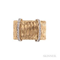 18kt Gold and Diamond Woven Band Ring, Roberto Coin