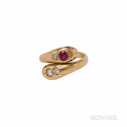 18kt Gold, Synthetic Ruby, and Diamond Snake Ring