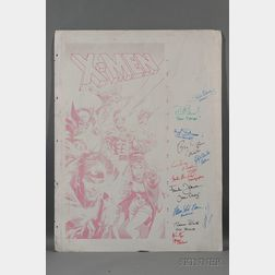 X-Men (2000) Movie Autographed Metal Offset Comic Poster Print Black Panel