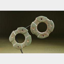 Pre-Columbian Carved Jade Ear Spools