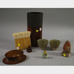 Eight Assorted Mostly Chinese Hardstone, Pottery, and Wood Items